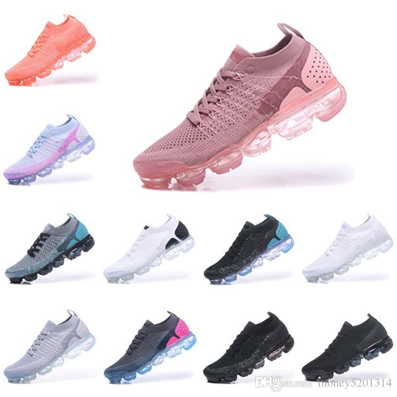 Nike Air Vapormax flyknit 1.0 2.0 Avec Box 2018 récent arc-en-2018 BE TRUE Chaussures de choc design Homme Femme pour les vapeurs course qualité réelle Mode