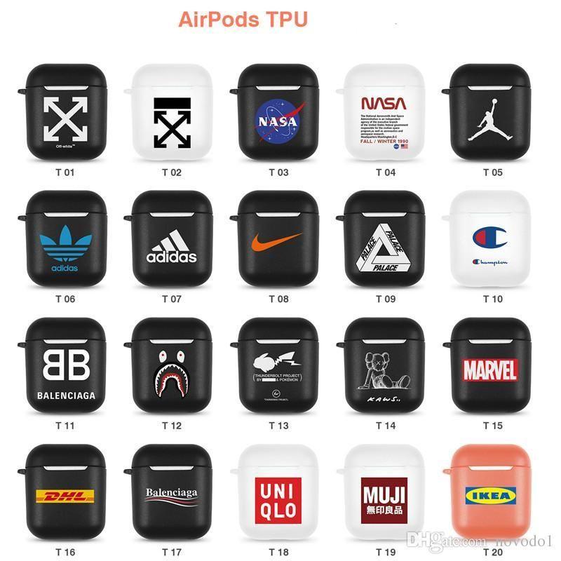 TPU مصمم airpods حالة العلامة التجارية الشهيرة مصمم airpods القضية لمدة 1 و 2 اللاسلكية بلوتوث سماعة الهواء القرون الحقيبة حالة وقائية