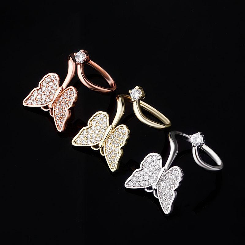 Kelebek Moda Bakır Takı Serçe Parmağı Tırnak Kadınlar Altın Gümüş Yüzük Tasarımı CZ Kelebek Pırlanta Yüzük