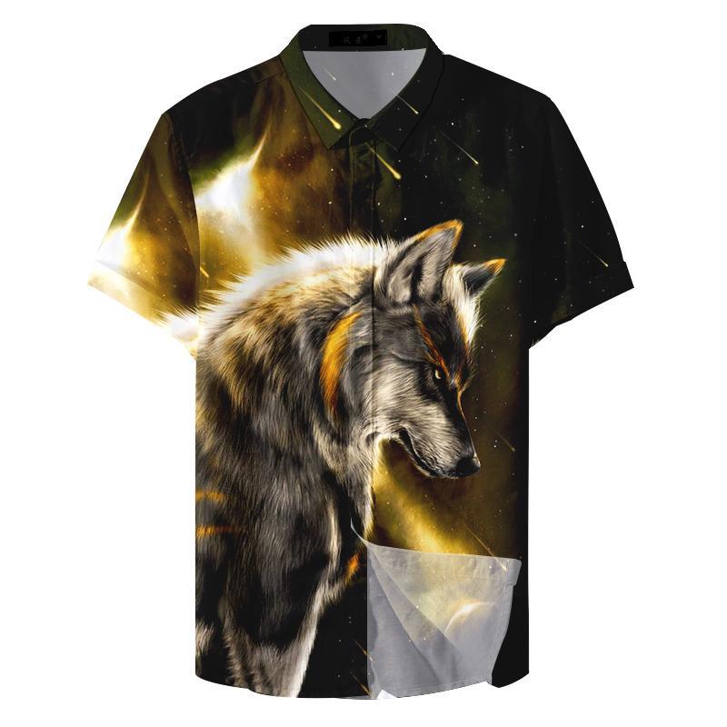 Animaux desserrées cru motif jeune loup-garou Chemises habillées