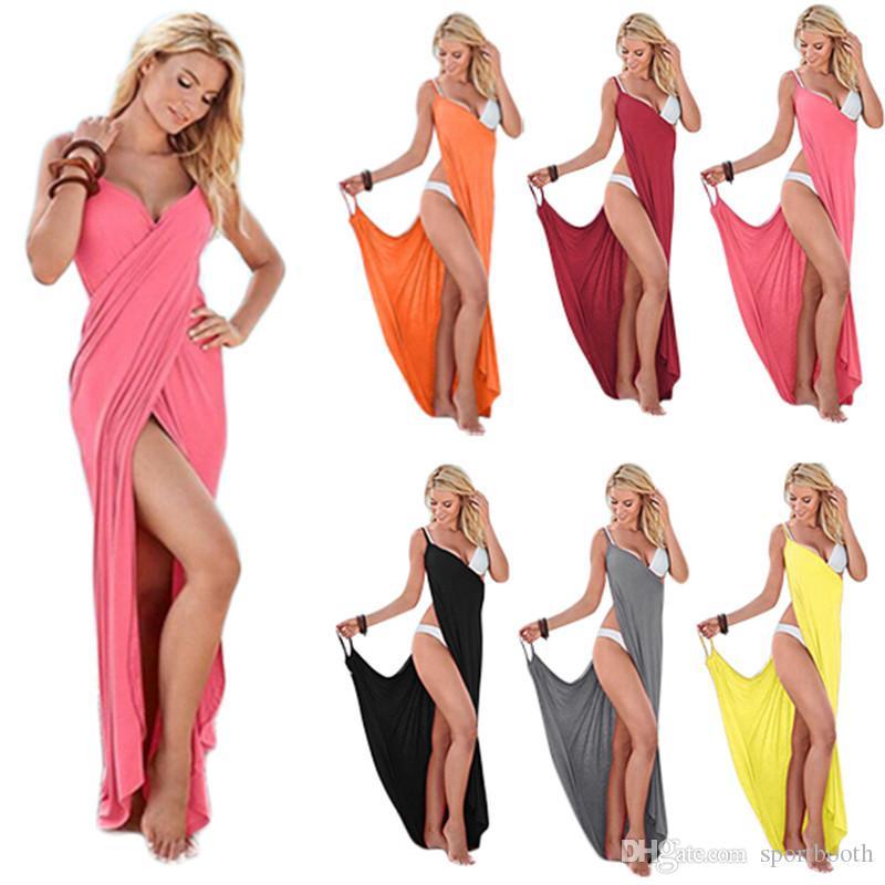 Frauen-Strand-Kleid Sexy Sling Becah Wear Kleidsarong Bilini Vertuschung-Warp Pareo Kleider Handtuch Backless Badebekleidung Femme Plus Size