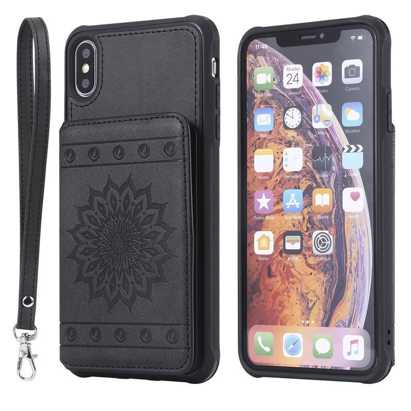 De lujo delgada de la PU billetera de cuero ranura Caso X tarjeta a prueba de golpes XS iPhone Para pata de cabra de teléfono para el iPhone XR / XS Max