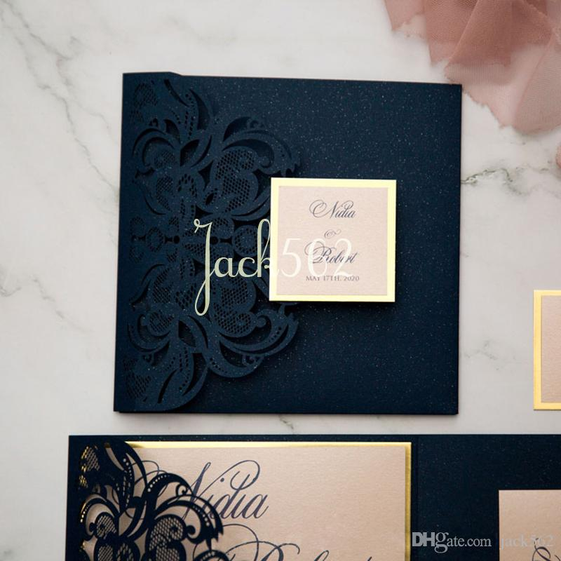 Laser Cut 24 Pieces Glitter Invitation Cards With Printable Inner Sheet