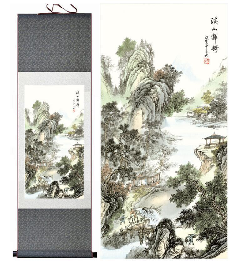 Landscape Painting Home Office Decoration Chinese Scroll Painting Mountain And Water 1906151708