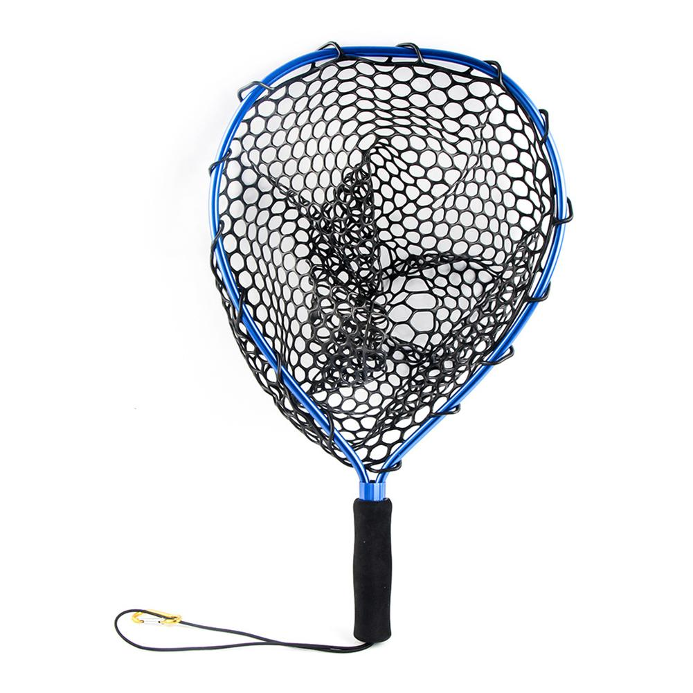Aluminum Alloy  Fishing Tools Strong Portable With Lanyard Replacement Monofilament Landing Net Outdoor Sports Release Mesh