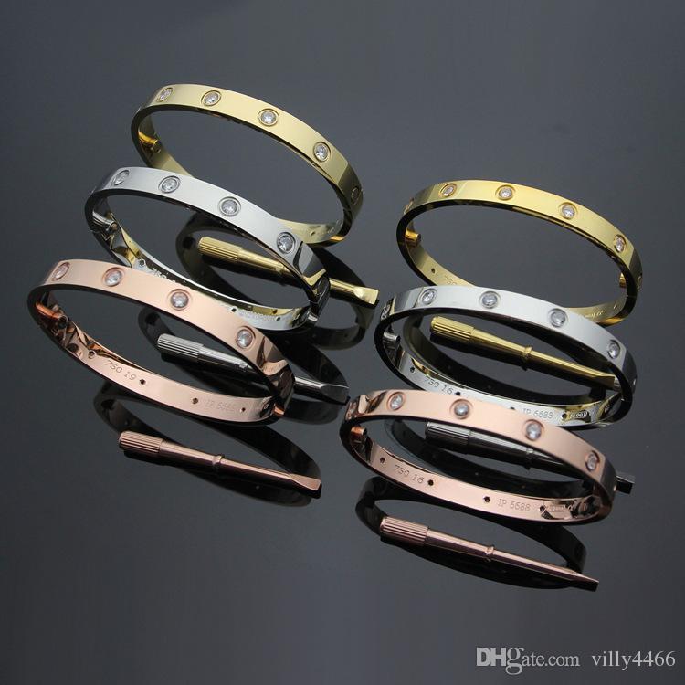 Acero inoxidable 316L Moda Nueva marca 18k Chapado en oro Pulsera de tornillo de amor con destornillador con diez brazalete de diamantes blancos cz