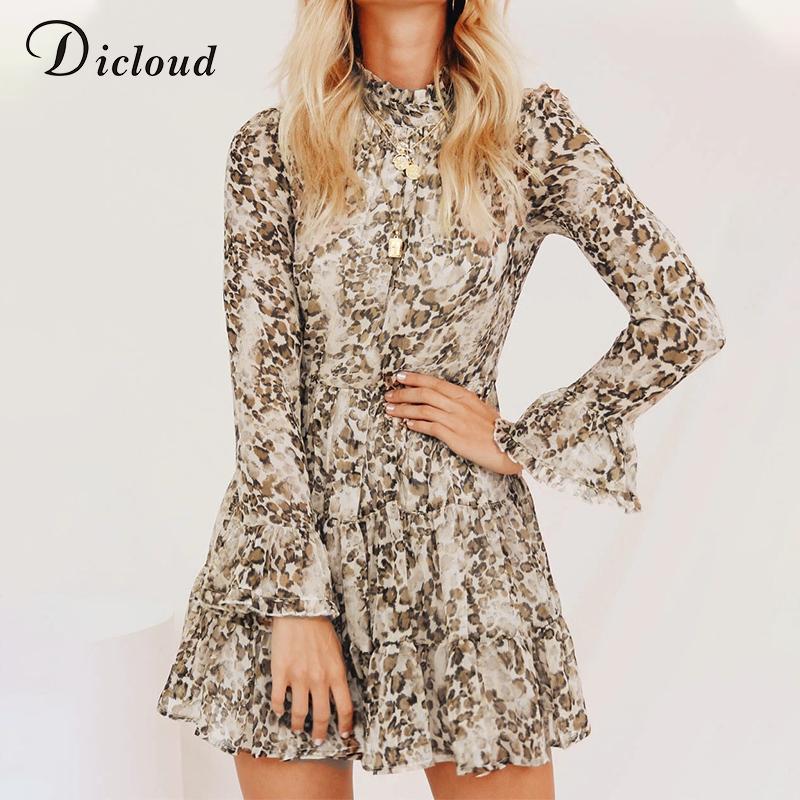 DICLOUD Leopard-Druck-hohe Ansatz Chiffon-Kleid für Frauen 2020 Frühling Winters langen Hülsen-Minipartei-Kleid Sexy Kleidung weiblich
