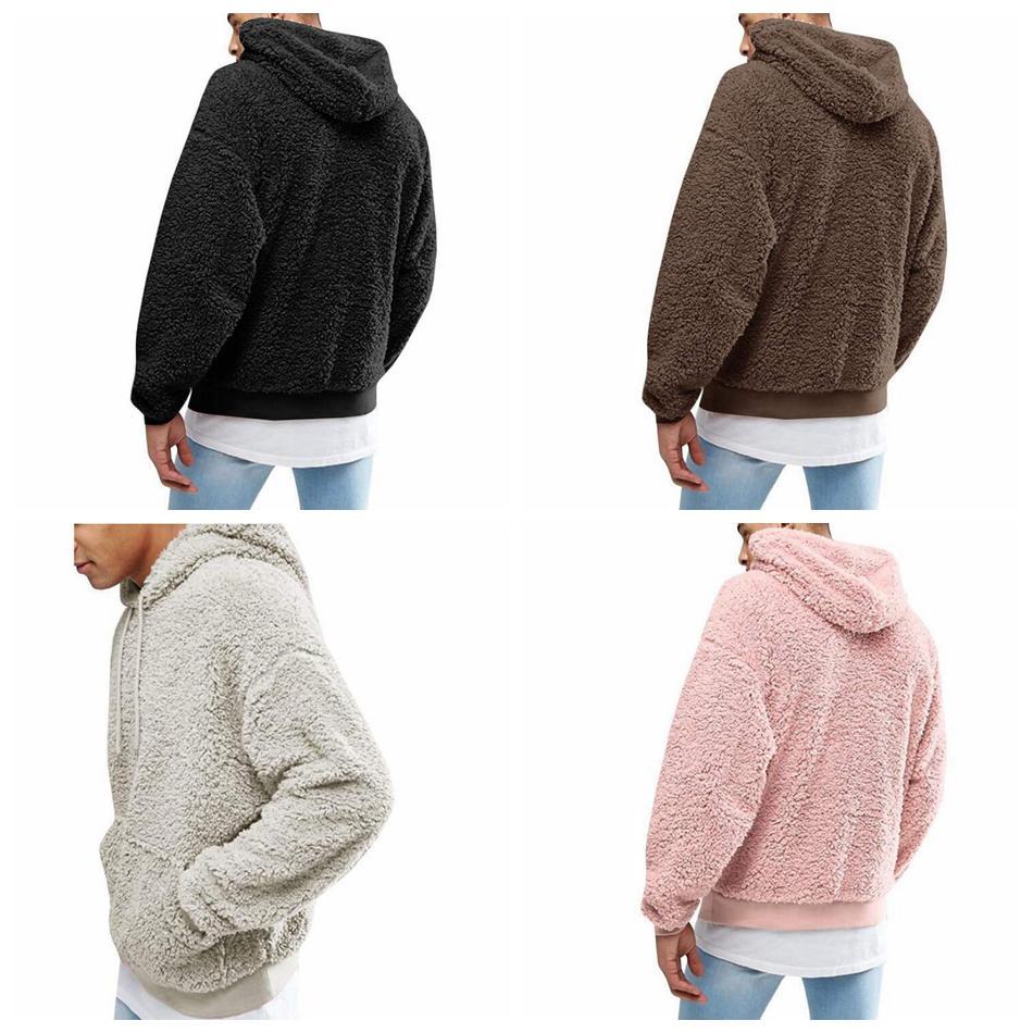 Мужчины Шерпа с капюшоном балахон 4 цвета полный рукав капюшон пуловер Толстовки толстовка хип-хоп улица флис открытый балахон OOA6011