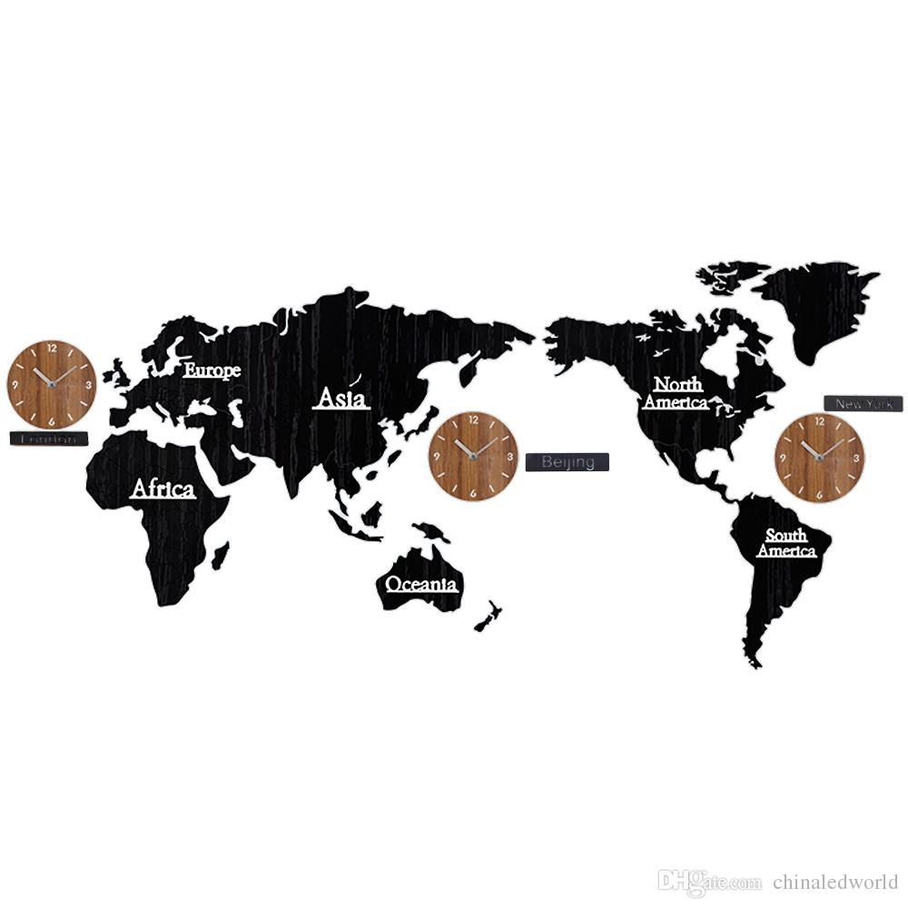 Mapa do mundo de madeira tempo não ticking parede silenciosa vara relógio diy casa decoração