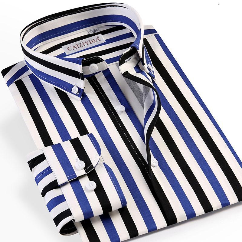 Çok Renkli Çizgili Düğme aşağı İş Casual Erkek Gömlek Uzun Kollu% 97 Pamuk Nefes Ofisi Resmi Erkekler Gömlekler