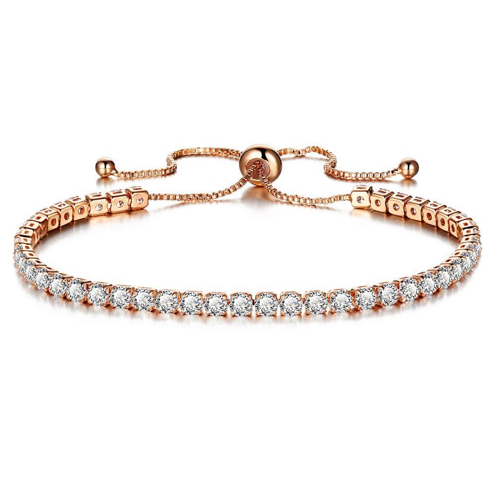 braccialetto di cristallo scintillante della moda per il braccialetto da donna in oro piena singolo trapano in fila per il regalo di compleanno ragazze