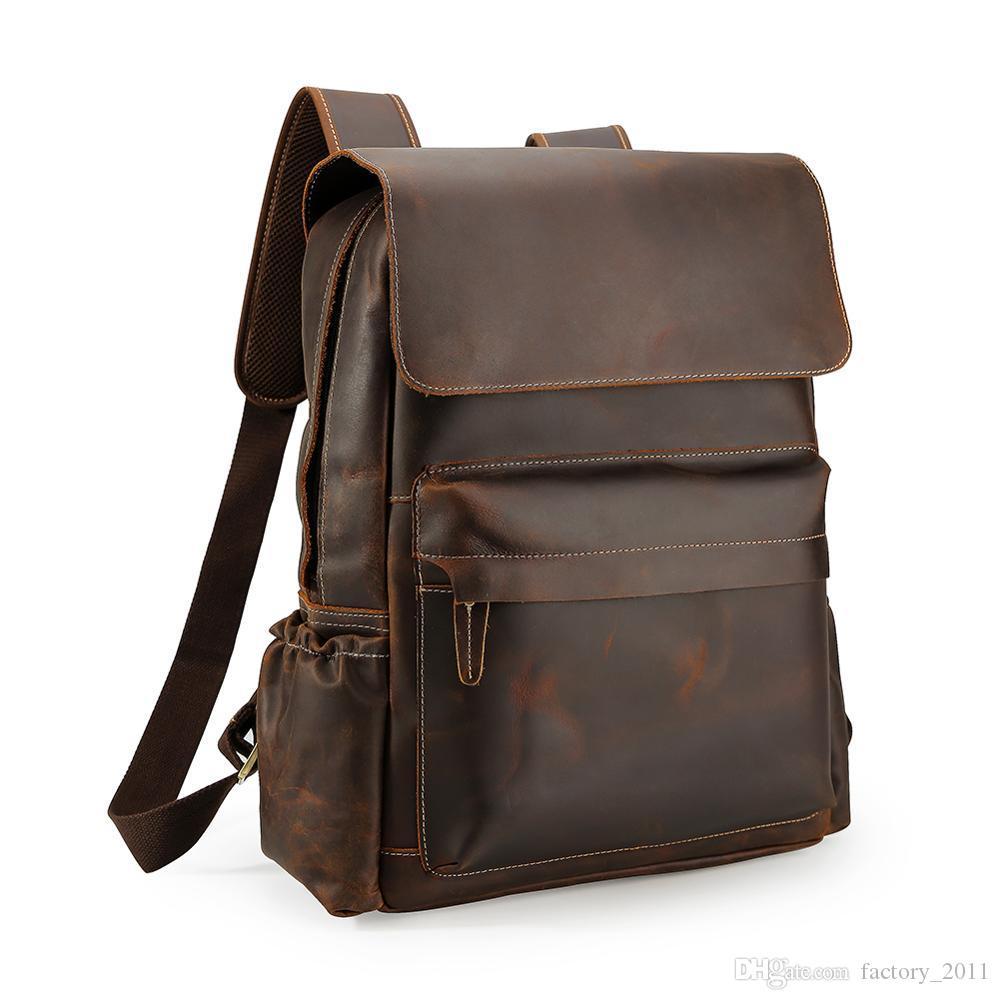 핸드 메이드 안티 절도 노트북 배낭 학교 가죽 배낭 가방 남자와 정품 가죽 가방을 하이킹 공장 저렴 한 가격