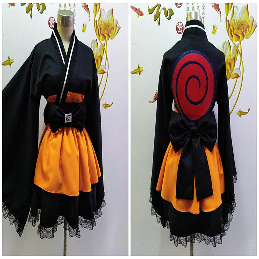JP Anime Naruto Shippuden Uzumaki Naruto Cosplay Kostüme Lolita Kimono Cosplay Kostüm Halloween-Kleid