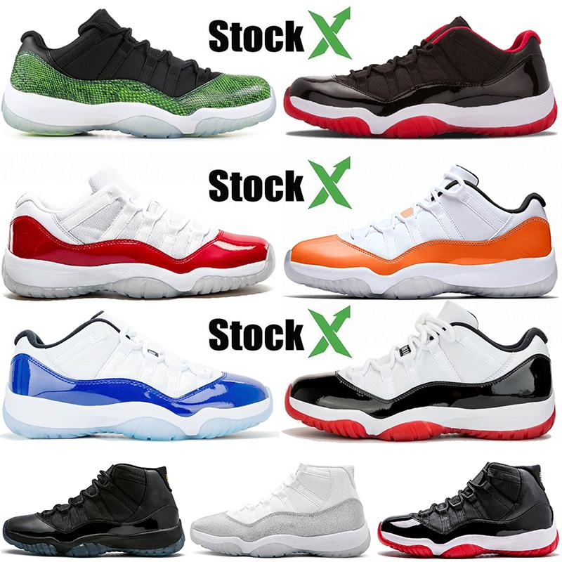 Top 11 11s Jumpman Brand Women Mens Basketball Shoes Hot Sell Low Snake Green Bred Varsity Red Orange Trance Concord Blue Sport Trainers