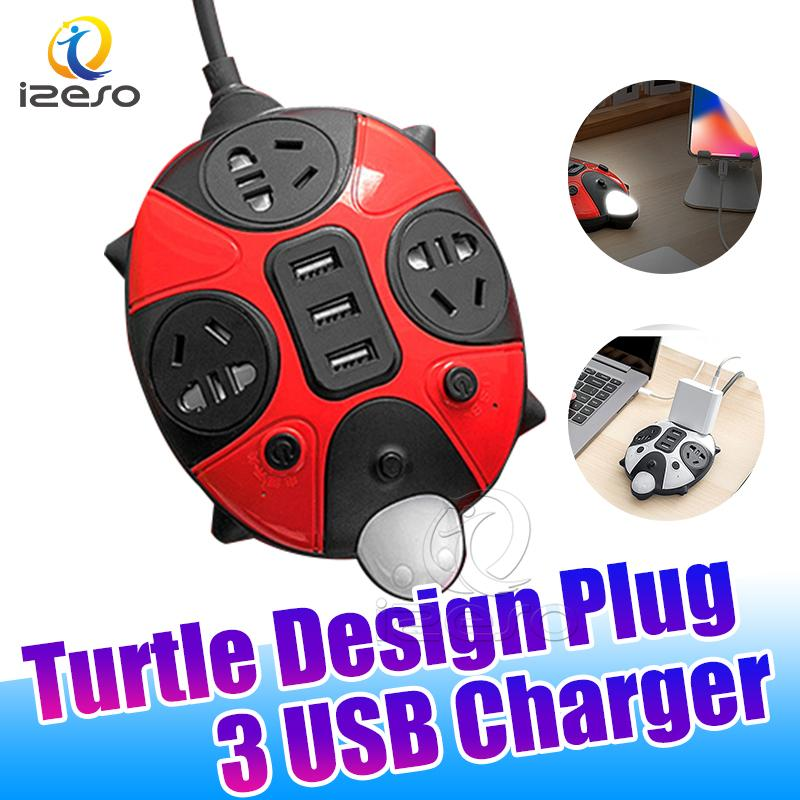 3 USB Chargers 2.4A Light Adapter Home Convenient 0.8m Power Plug with Multiple Plugs for iPhone 11 Pro Samsung Huawei izeso
