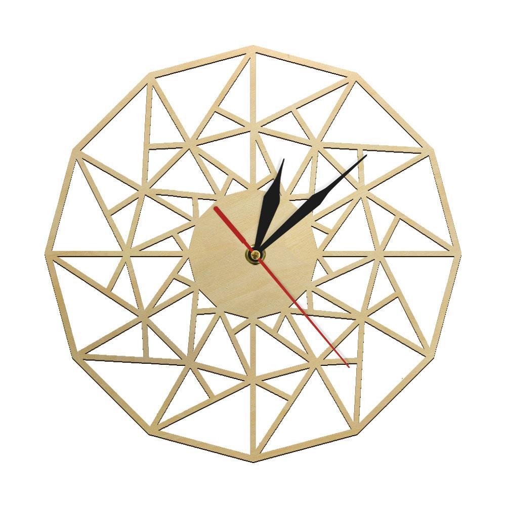 Scandinavian Silent Quartz Wall Clock Geometric Wooden Design Laser Cut Triangles Clock Minimalist Modern Home Decor Wall Art