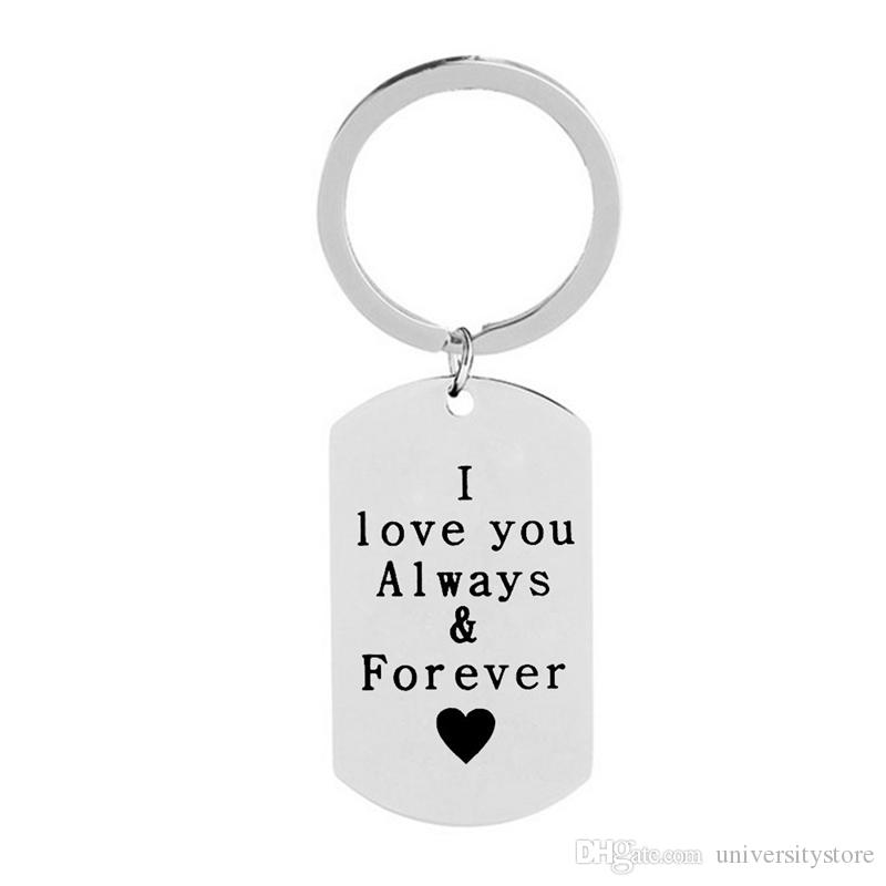 I Love You Always And Forever Engraved Heart Couple Gift Keychain Fashion Trendy Women Men Pendant Keyrings Jewelry Keychains