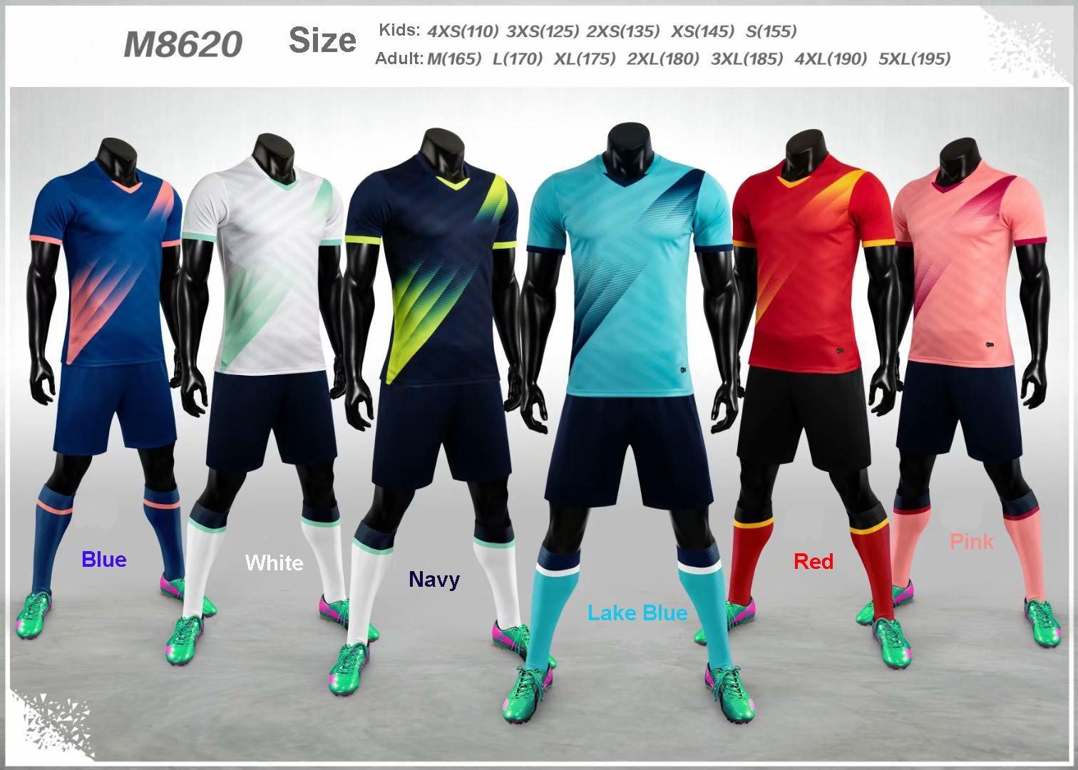 Boş 19-20 Yetişkin Çocuk Futbol Jersey Takımı Seti Özelleştirilmiş Futbol Takımı Eğitim Üniformalar Seti camiseta de futbol M8620