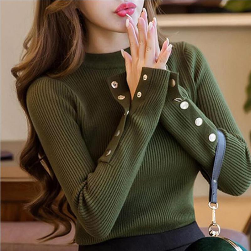 Moda 2020 Nuova Primavera Autunno donne maglione lavorato a maglia a maniche lunghe O-Collo sottile sexy Office Lady Button Maglioni Casual Top