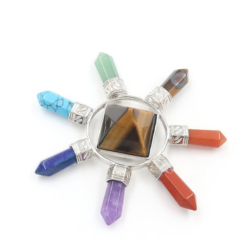 5 PCS Pinamida cuadrada colgante con 7 colores Hexágono Columna Cuarzo Curación Curación Chakra Silver Plateado Jewelr