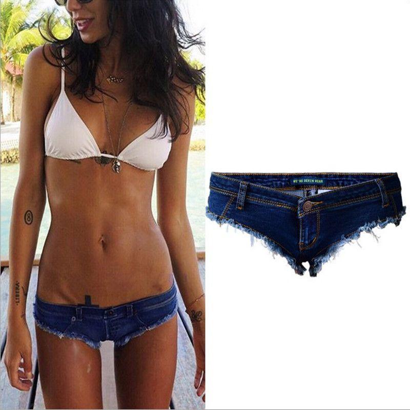 Wholesale-Sexy Denim Party Girl Hot Booty Shorts Women Low waist Jeans Mini Shorts Summer Beach Bikini Bottom Cheeky