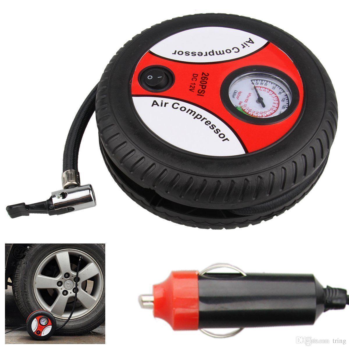 Mini Portátil Elétrica Compressor de Ar Da Bomba Do Pneu Do Carro Inflador Bomba Ferramenta 12 V 260PSI FP9 Shpping Livre