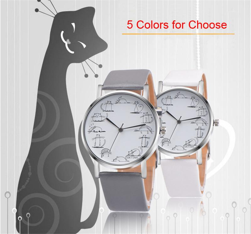 فرقة DHL مجانا 5 ألوان الإبداعية القط الساعات بنات الإكسسوارات ساعة اليد بسيطة جلدية وساعات اليد للأطفال أفضل الهدايا