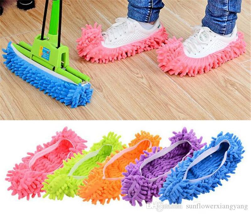 Dust Cleaner Grazing Slippers Bathroom Floor Cleaning Mop Cleaner Slipper Lazy Shoes Cover Microfiber Duster Cloth
