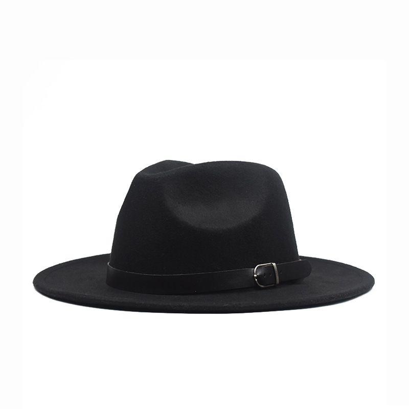 Осенняя зима плоская крайняя шерсть войлока Федора шляпы с пряжкой джаз формальная шапка Panama Cap Cap Plain Hat мужчины женщин большой краев войлока