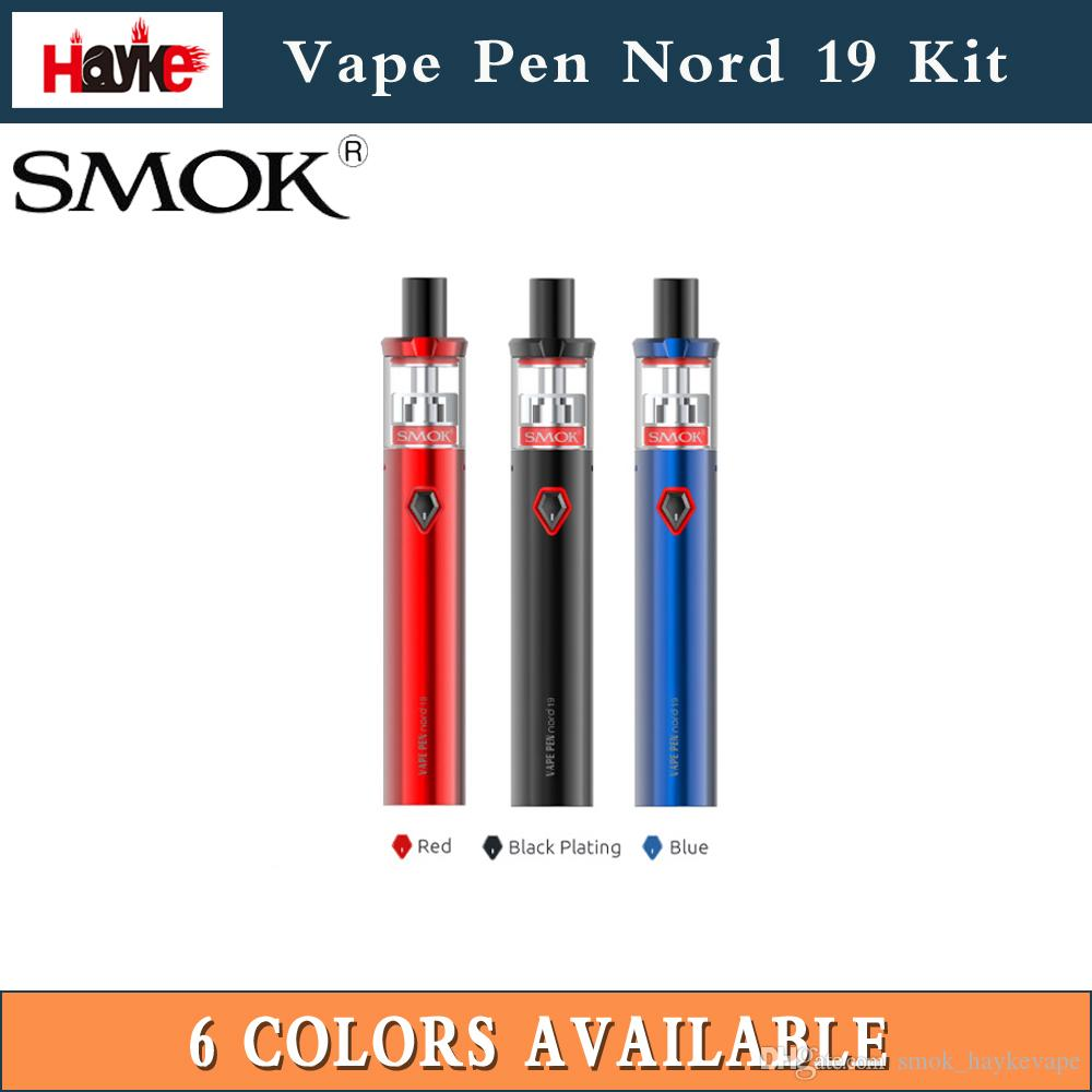 Оригинал Smok Vape Pen Nord 19 Kit 1300 мАч Батарея 2 мл Бак Smok Nord Coil Nord Сетка Катушка 0.6 Ом против Vape Pen 22100%