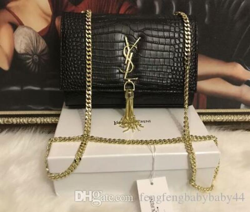 Горячая распродажа женская мода золотая и серебряная цепь кисточкой Tote женская змея рыбья кожа Crossbody сумка через плечо