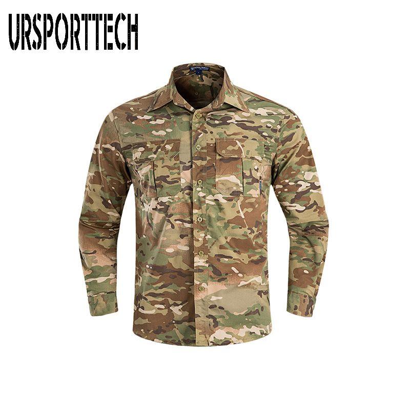 URSPORTTECH Erkek Gömlek İlkbahar Sonbahar Uzun Kollu Kamuflaj Kargo Gömlek Günlük Elbise Erkek Ordu Taktik