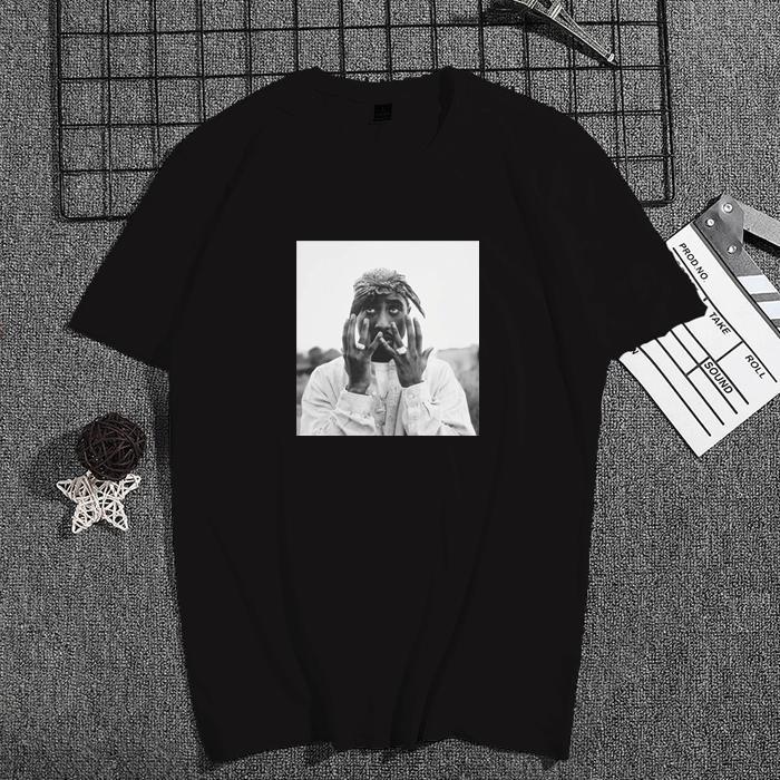 1PC Tupac Shakur Calle Casual Wear Moda Hombres de Hiphop Rap Star fresco de la camiseta de manga corta de algodón T-Top de la vendimia camiseta