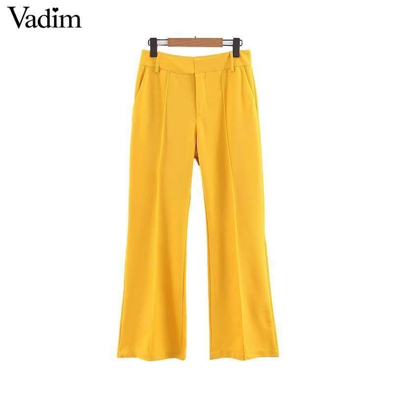 Vadim Mujer Amarillo Pantalones de pierna ancha Bolsillos Con cremallera Diseño de la oficina Ropa de manga larga Pantalones Mujer Pantalones largos ocasionales Ka675 Y19051701