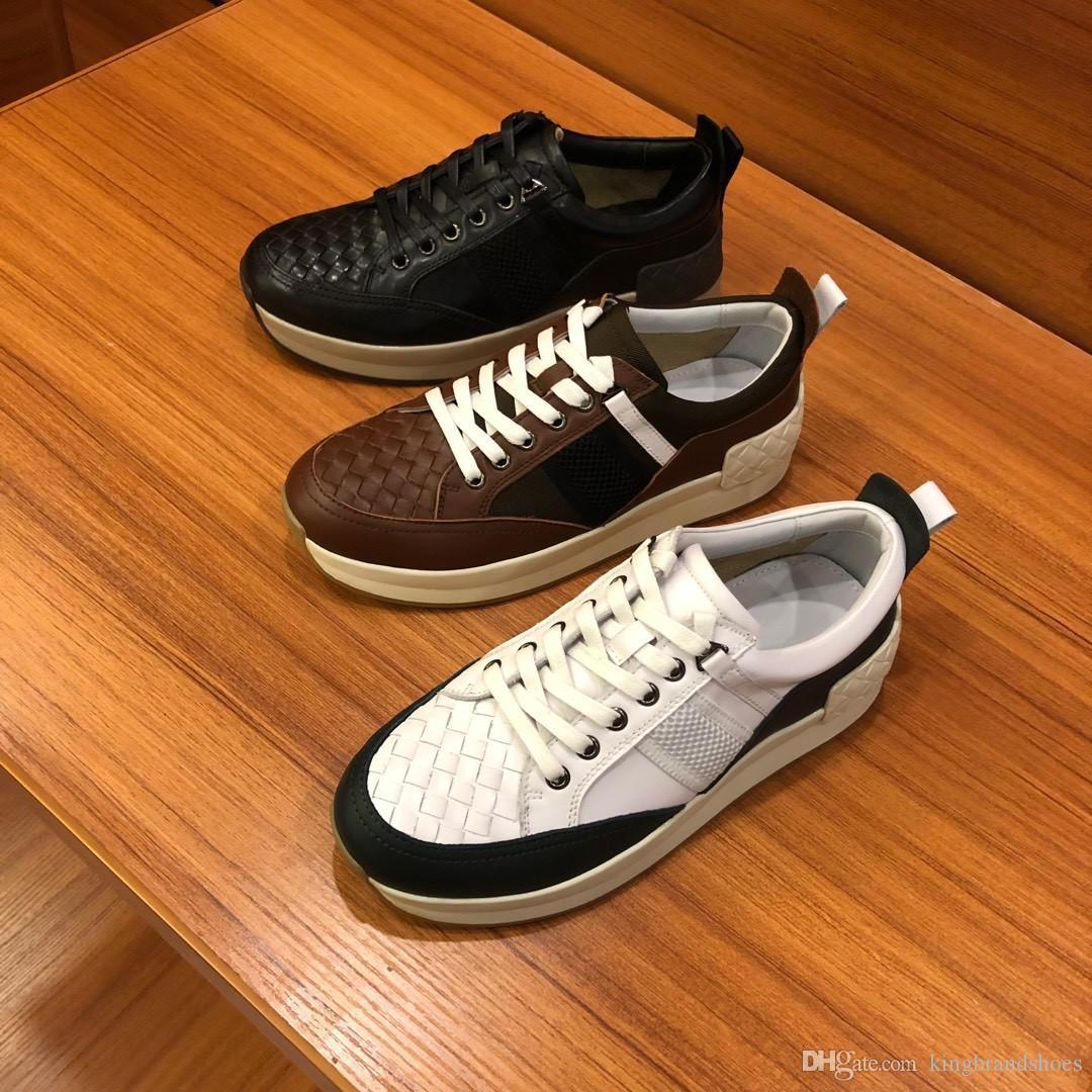 chaussures de conception les plus récents 2019 hommes de luxe chaussures de sport respirant exterieurs chaussures de sport occasionnels véritables hommes en cuir chaussures
