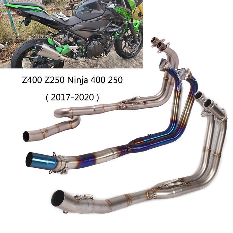 51mm / Sistema di scarico originale per il 2017-2020 Z400 Z250 Tubo di scarico moto Slip on header Mid Link Pipe Ninja 250 400