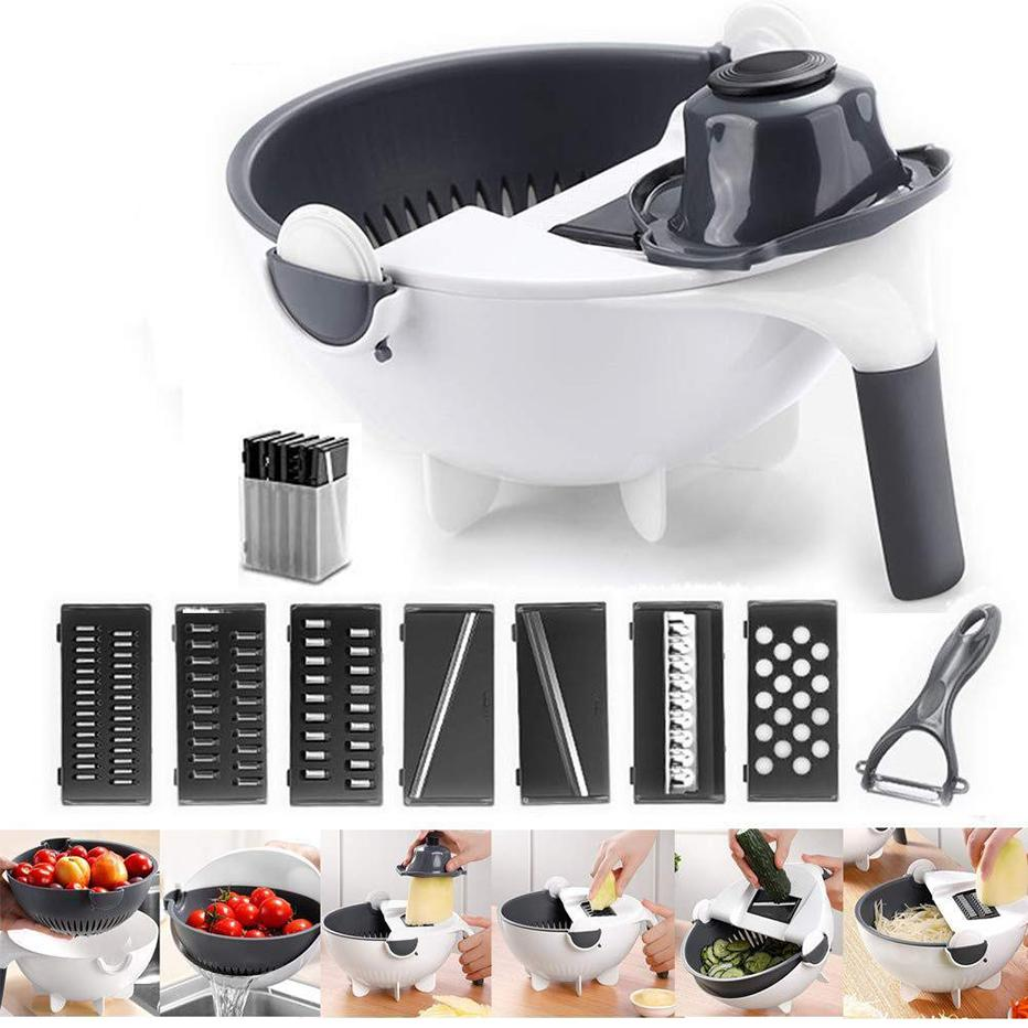 Basedidea Magic Multifunctional Rotate Vegetable Cutter With Drain Basket Kitchen Veggie Fruit Shredder Grater Slicer 9-in-1