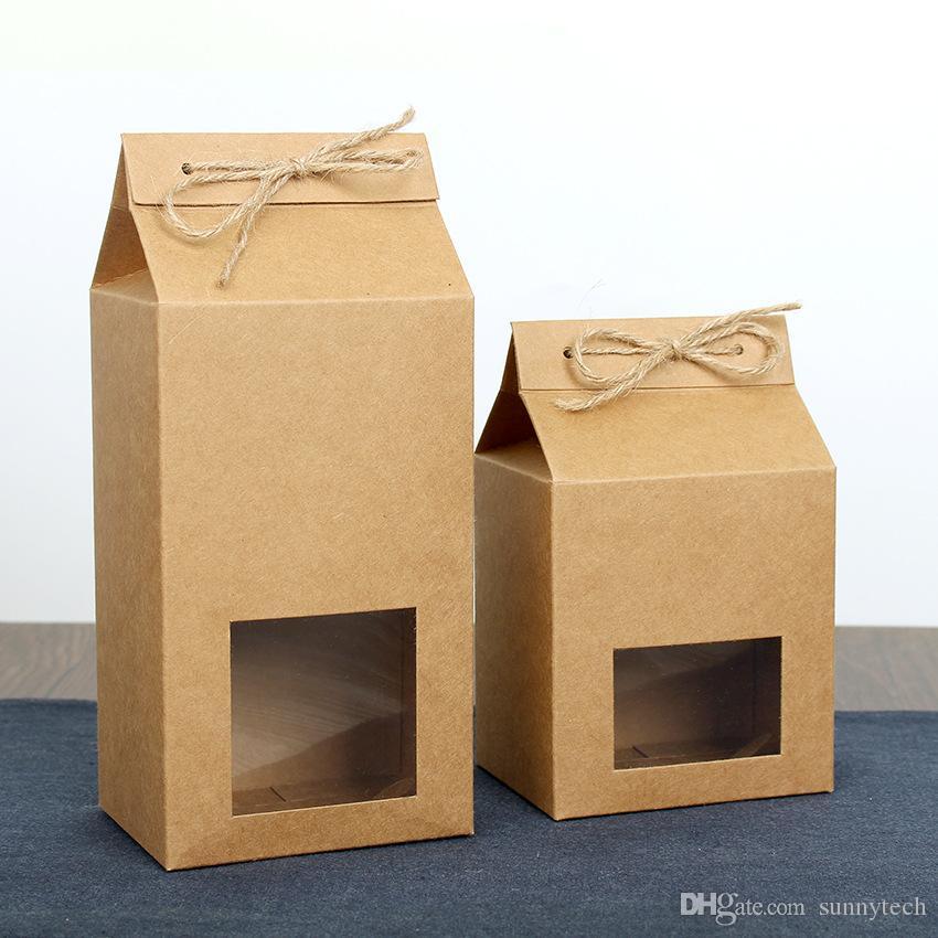 حقيبة ورق مقوى من ورق التغليف بالشاي ، صندوق نوافذ خالي لتخزين كعك الكعك ، واقف في كيس التعبئة الورقي LX2705