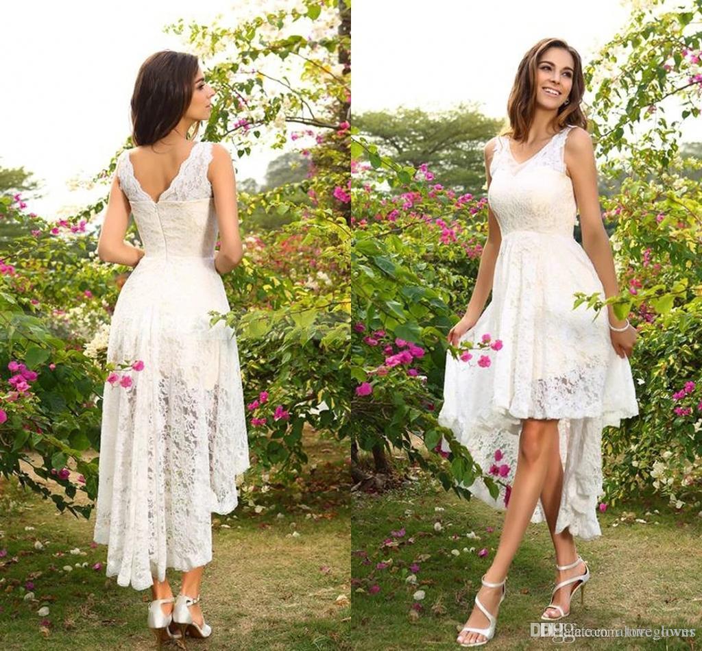 빈티지 웨딩 드레스 V 넥 레이스 봄 여름 비대칭 장착 하이 로우 비치 겸손한 높은 저지대 신부 드레스 플러스 사이즈