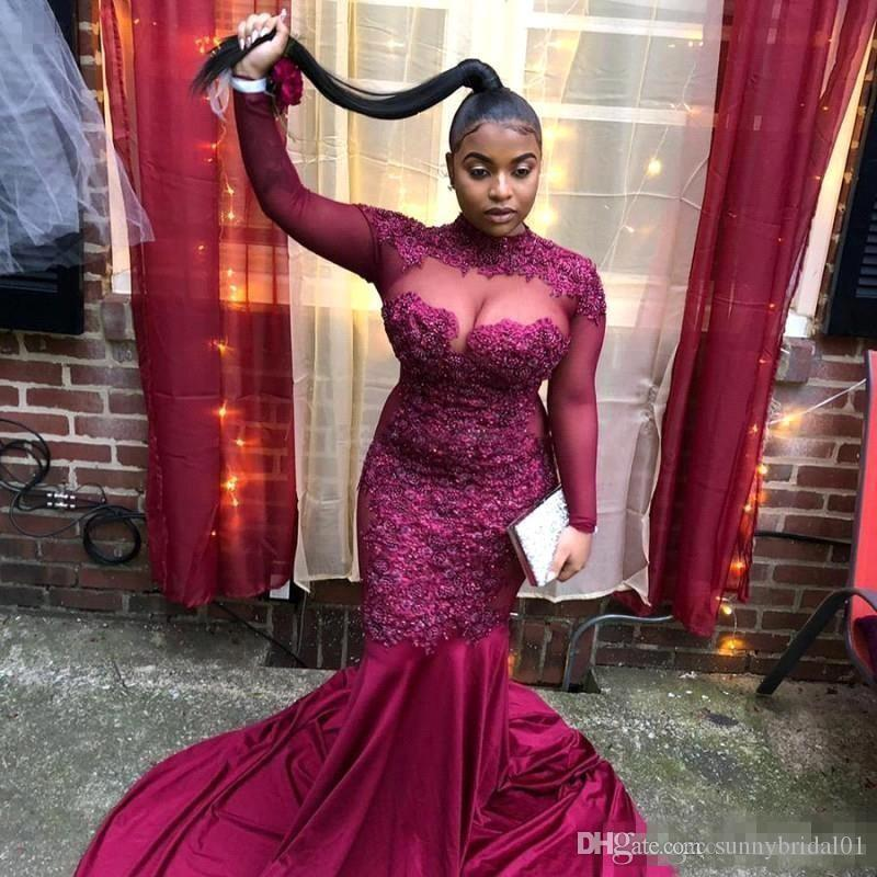 2K19 Grap Mermaid Prom Party Dresses For Black Girls Sheer Long Sleeves Lace Appliques Formal Evening Gowns Plus Size vestidos de baile