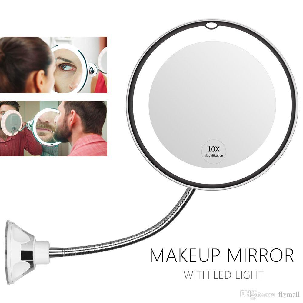 360 graus flexível iluminado espelho de maquiagem 10x ampliação de lupa espelho de barbear com luz led luz casa de banho luz noite luz