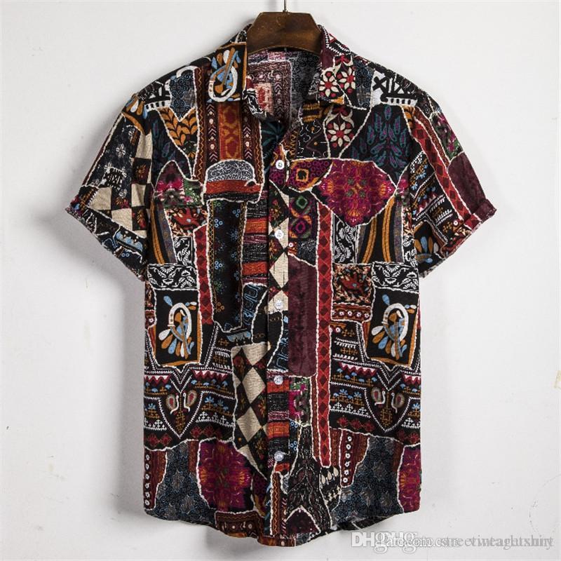 Mens Designer camicie stampate stile etnico moda Camicie Casual Tops Plus Size Mens Shorts manica estate