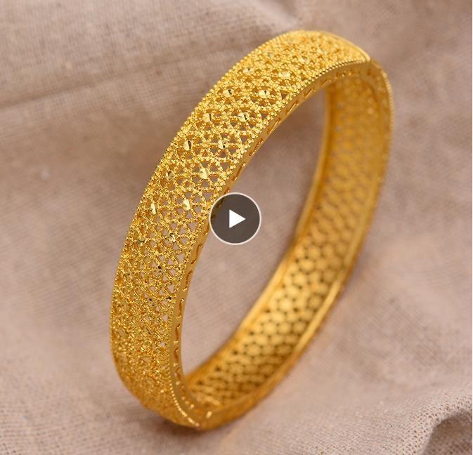24K Dubai Gold Braccialetti per le donne Gold Dubai Bride Bracciale Etiope Etiope Africa Bangle Bangle Bangle Bangle Braccialetto oro Bracciale