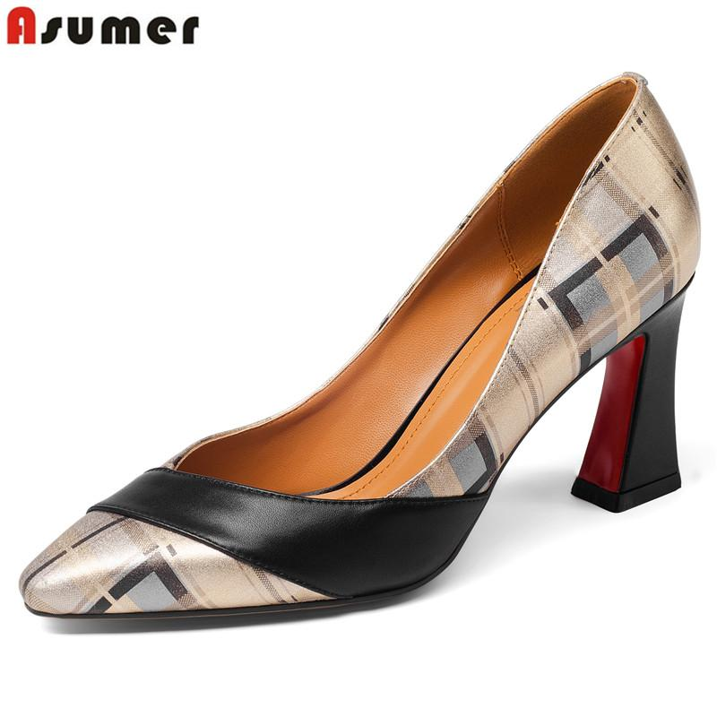 ASUMER Plus size 34-43 new top quality genuine leather shoes woman pointed toe summer women pumps high heels ladies dress shoes