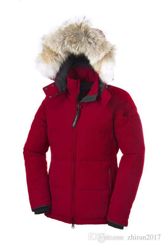 2019 Canadá para mujer abajo abrigos esquimales nueva sección gruesa larga delgada impermeable Chelseaa abajo invierno cálido y resistente al viento chaqueta femenina sólida