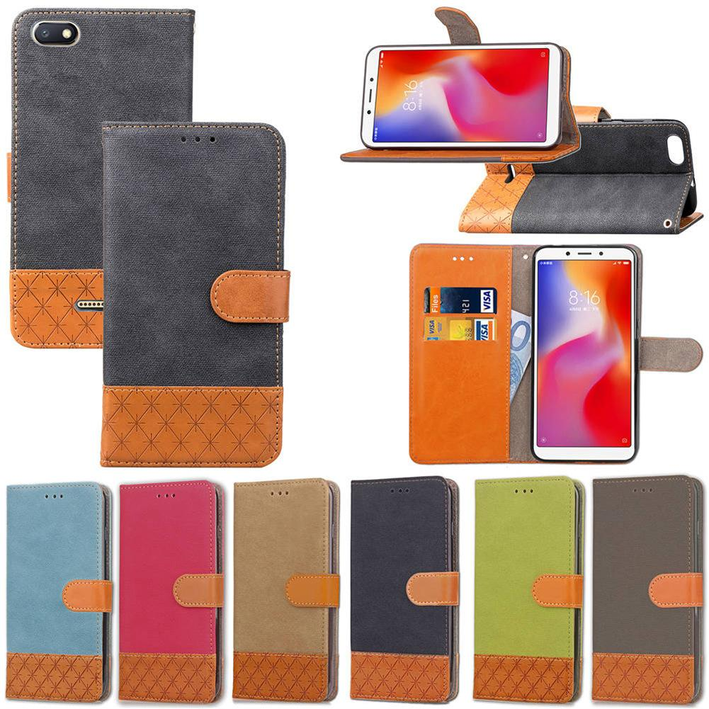 For Xiaomi Redmi 6A Wallet Case Soft Cloth Cover with Card Slote Hand Strap 193 Models for Option