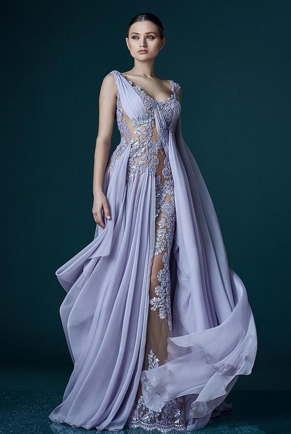 V-cuello de lavanda vestidos de noche con una envoltura Apliques Sheer sin espalda vestido de la celebridad vestidos de noche largos de la gasa Impresionante vestido de fiesta