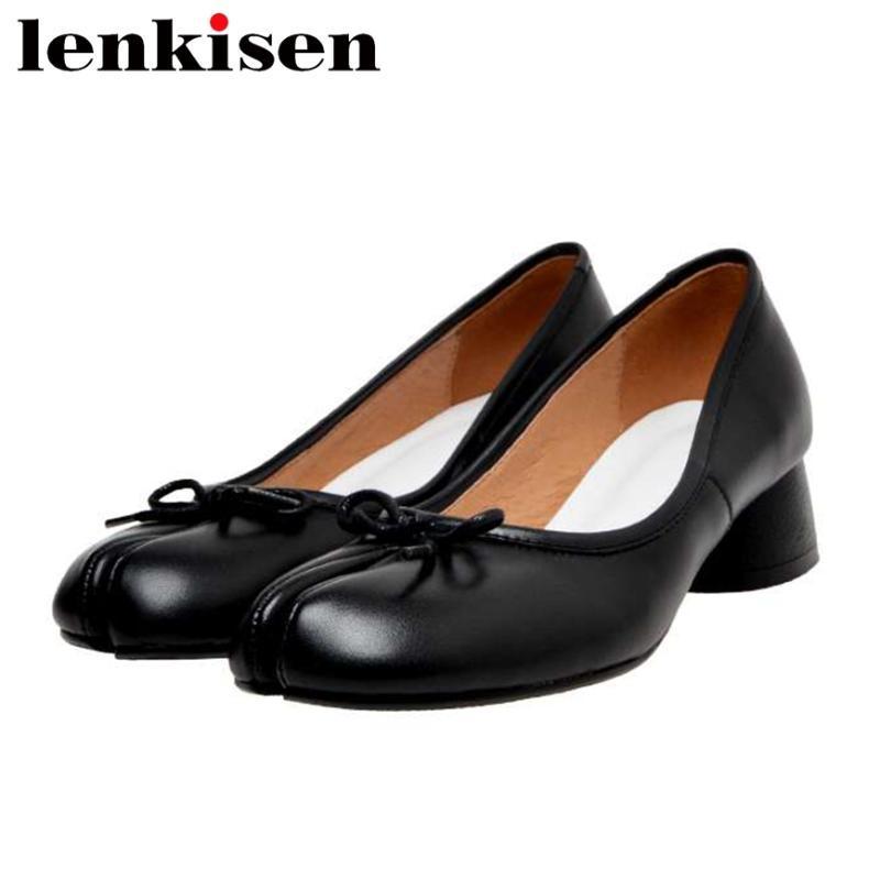 tatlı kızlar üzerinde Lenkisen 2020 sıcak satış hakiki deri ayakkabı kadın yuvarlak ayak med topuk tuhaf tarzı papyon sığ kayma L68 pompalar
