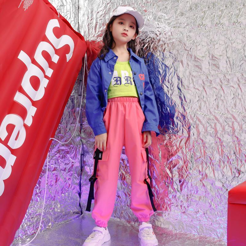 Kinder Ballsaal Jacke Jogger Hosen tanzen Bühnenkleidung Outfits Mädchen Konzert Modern Jazz Hip Hop Tanzkleidung Anzug