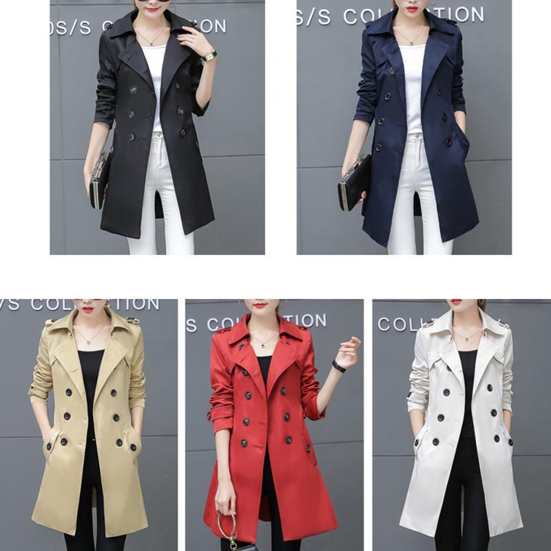 Gros-femmes Trench Coat pour Office Lady Go To Work New Fashion Designer Marque classique européenne Manteau Slim Trench double boutonnage plus